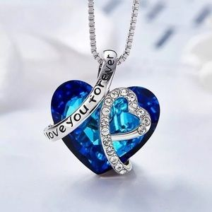 ❤️gorgeous love you forever sapphire heart necklac